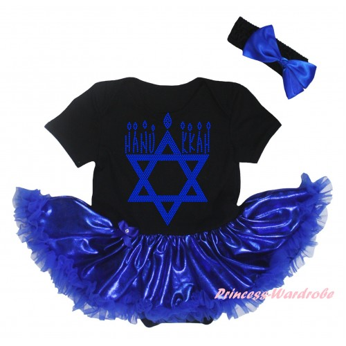 Black Baby Bodysuit Bling Royal Blue Pettiskirt & Sparkle Rhinestone HANUKKAH Print JS5923