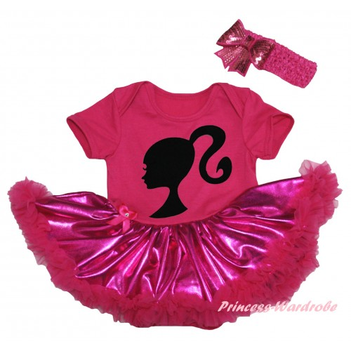 Hot Pink Baby Bodysuit Bling Hot Pink Pettiskirt & Barbie Princess Print JS5966