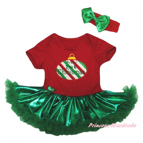 Christmas Red Baby Bodysuit Bling Kelly Green Pettiskirt & Red White Green Striped Christmas Lights Print JS5985