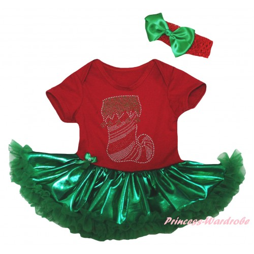 Christmas Red Baby Bodysuit Bling Kelly Green Pettiskirt & Sparkle Crystal Bling Rhinestone Christmas Stocking Print JS5986