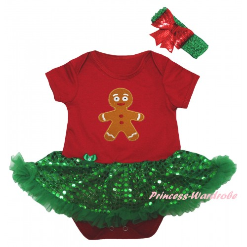 Christmas Red Baby Bodysuit Bling Kelly Green Sequins Pettiskirt & Brown Gingerbread Print JS5991
