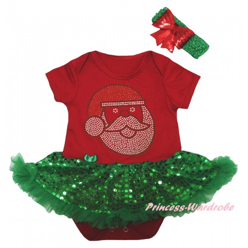 Christmas Red Baby Bodysuit Bling Kelly Green Sequins Pettiskirt & Sparkle Rhinestone Santa Claus Print JS5992