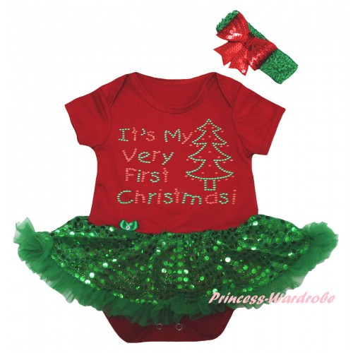 Christmas Red Baby Bodysuit Bling Kelly Green Sequins Pettiskirt & Sparkle Rhinestone It's My Very First Christmas Print JS5994