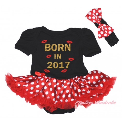 Black Baby Bodysuit Minnie Dots Red Pettiskirt & Sparkle Born In 2017 Painting JS6023
