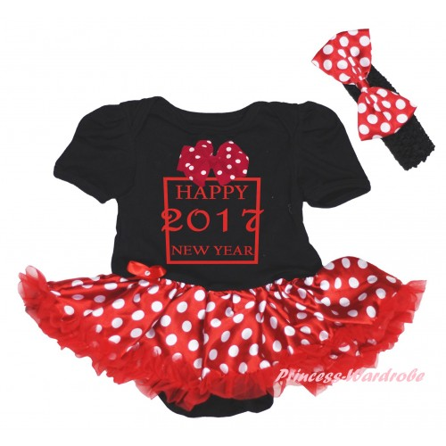 Black Baby Bodysuit Minnie Dots Red Pettiskirt & Sparkle Hot Pink White bow Happy 2017 New Year Painting JS6024