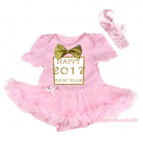 Light Pink Baby Bodysuit Light Pink Pettiskirt & Sparkle Gold bow Happy 2017 New Year Painting JS6025
