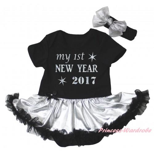 Black Baby Bodysuit Silver Black Pettiskirt & Sparkle My 1st New Year 2017 Painting JS6026