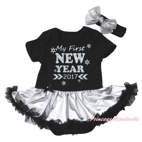 Black Baby Bodysuit Silver Black Pettiskirt & Sparkle My First New Year 2017 Painting JS6027