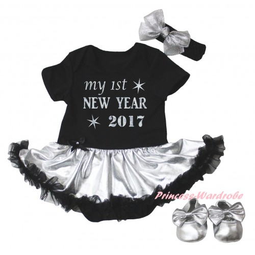 Black Baby Bodysuit Silver Black Pettiskirt & Sparkle My 1st New Year 2017 Painting & Black Headband Silver Bow & Silver Ribbon Shoes JS6030