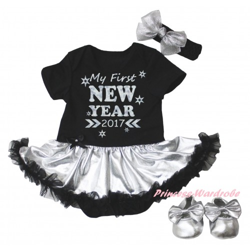 Black Baby Bodysuit Silver Black Pettiskirt & Sparkle My First New Year 2017 Painting & Black Headband Silver Bow & Silver Ribbon Shoes JS6031