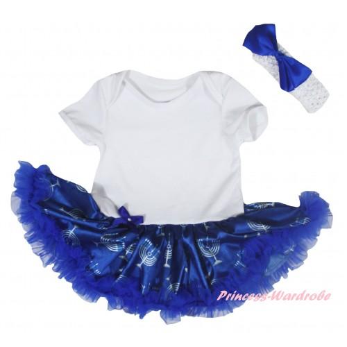White Baby Bodysuit Blue White Candles Pettiskirt JS6037
