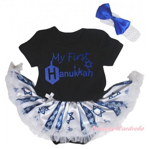 Black Baby Bodysuit Candles Stars Pettiskirt & My First Hanukkah Painting JS6041