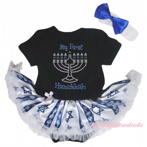 Black Baby Bodysuit Candles Stars Pettiskirt & Sparkle Rhinestone My First Hanukkah Print JS6044