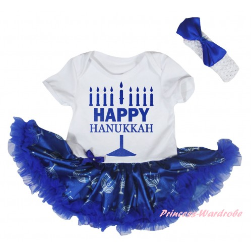 White Baby Bodysuit Blue White Candles Pettiskirt & Happy Hanukkah Painting JS6045