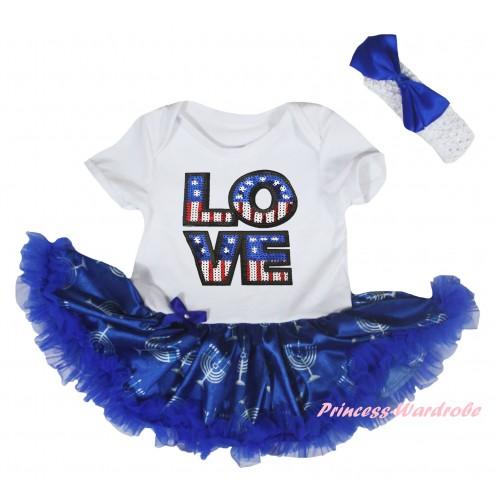 American's Birthday White Baby Bodysuit Blue White Candles Pettiskirt & Sparkle American LOVE Print JS6046
