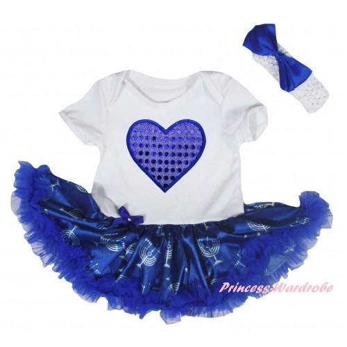 White Baby Bodysuit Blue White Candles Pettiskirt & Sparkle Royal Blue Heart Print JS6047
