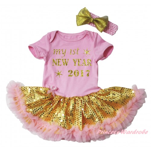 Light Pink Baby Bodysuit Gold Sequins Light Pink Pettiskirt & Sparkle My 1st New Year 2017 Painting JS6057