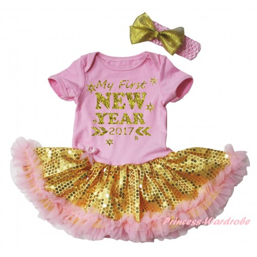 Light Pink Baby Bodysuit Gold Sequins Light Pink Pettiskirt & Sparkle My First New Year 2017 Painting JS6058
