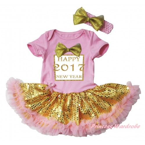Light Pink Baby Bodysuit Gold Sequins Light Pink Pettiskirt & Sparkle Gold bow Happy 2017 New Year Painting JS6059