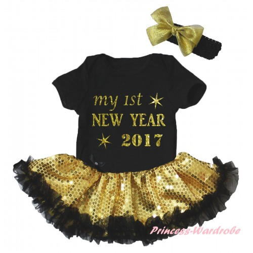 Black Baby Bodysuit Gold Sequins Black Pettiskirt & Sparkle My 1st New Year 2017 Painting JS6060