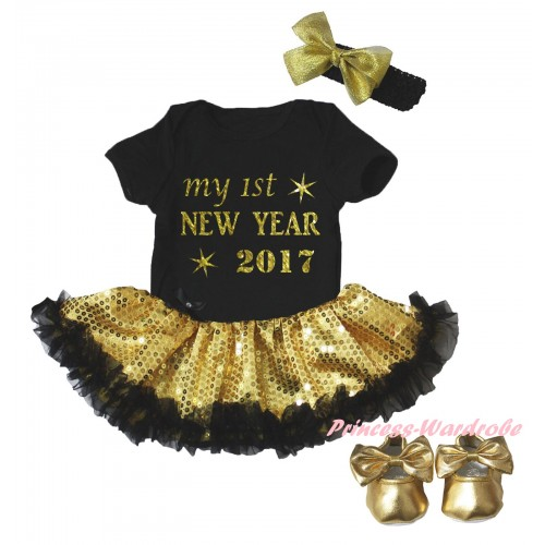 Black Baby Bodysuit Gold Sequins Black Pettiskirt & Sparkle My 1st New Year 2017 Painting & Black Headband Gold Bow & Gold Ribbon Shoes JS6062
