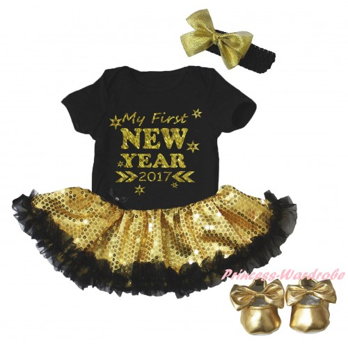 Black Baby Bodysuit Gold Sequins Black Pettiskirt & Sparkle My First New Year 2017 Painting & Black Headband Gold Bow & Gold Ribbon Shoes JS6063