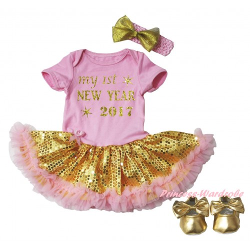 Light Pink Baby Bodysuit Gold Sequins Light Pink Pettiskirt & Sparkle My 1st New Year 2017 Painting & Light Pink Headband Gold Bow & Gold Ribbon Shoes JS6064