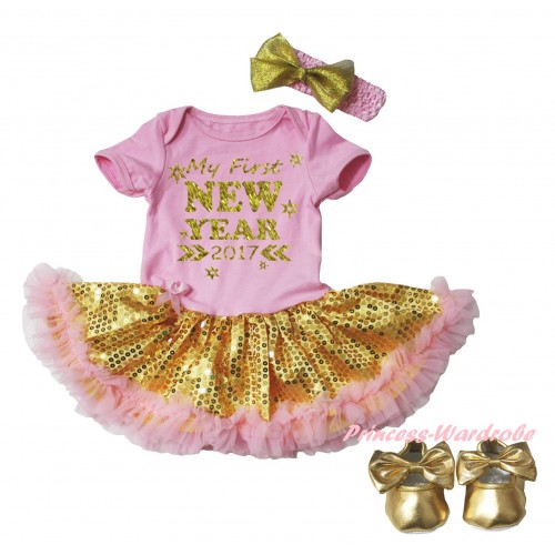 Light Pink Baby Bodysuit Gold Sequins Light Pink Pettiskirt & Sparkle My First New Year 2017 Painting & Light Pink Headband Gold Bow & Gold Ribbon Shoes JS6065