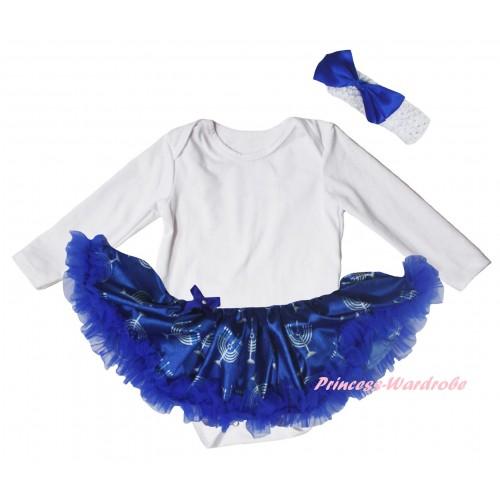 White Long Sleeve Baby Bodysuit Blue White Candles Pettiskirt JS6067