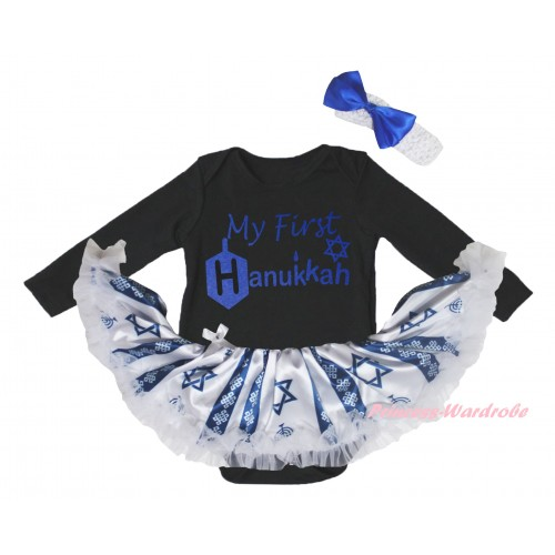 Black Long Sleeve Baby Bodysuit Candles Stars Pettiskirt & My First Hanukkah Painting JS6070