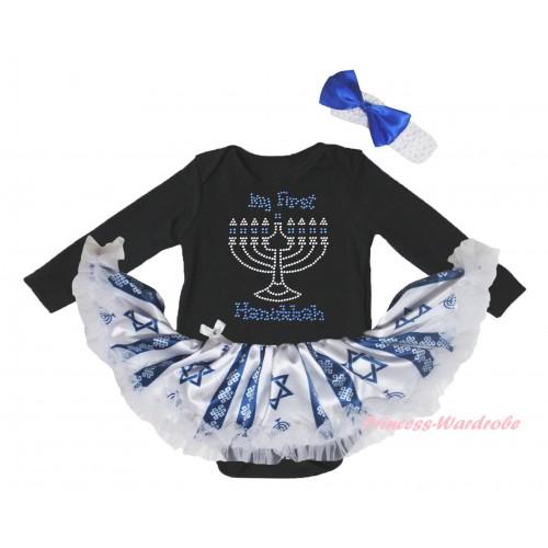 Black Long Sleeve Baby Bodysuit Candles Stars Pettiskirt & Sparkle Rhinestone My First Hanukkah Print JS6073