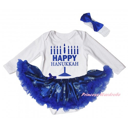 White Long Sleeve Baby Bodysuit Blue White Candles Pettiskirt & Happy Hanukkah Painting JS6074