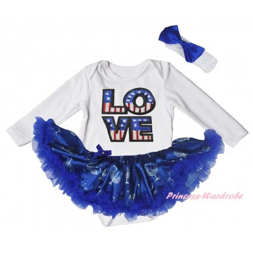 American's Birthday White Long Sleeve Baby Bodysuit Blue White Candles Pettiskirt & Sparkle American LOVE Print JS6075