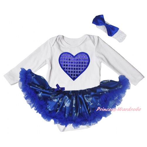 White Long Sleeve Baby Bodysuit Blue White Candles Pettiskirt & Sparkle Royal Blue Heart Print JS6076
