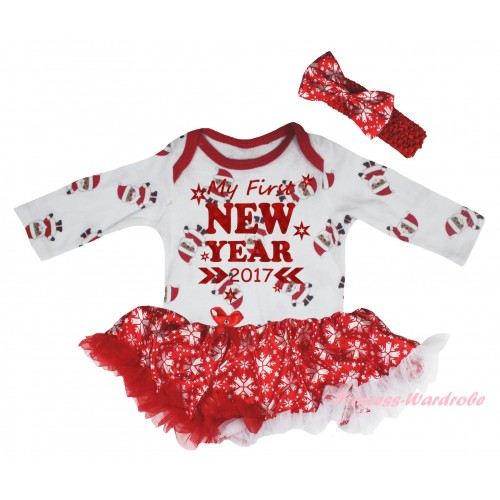 Christmas White Santa Claus Long Sleeve Baby Bodysuit Red White Snowflakes Pettiskirt & Sparkle My First New Year 2017 Painting JS6109