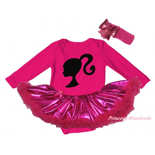 Hot Pink Long Sleeve Baby Bodysuit Bling Hot Pink Pettiskirt & Barbie Princess Print JS6142
