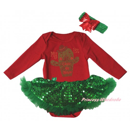 Cinco De Mayo Red Long Sleeve Baby Bodysuit Bling Kelly Green Sequins Pettiskirt & Sparkle Rhinestone My 1st Cinco De Mayo Cactus Print JS6172