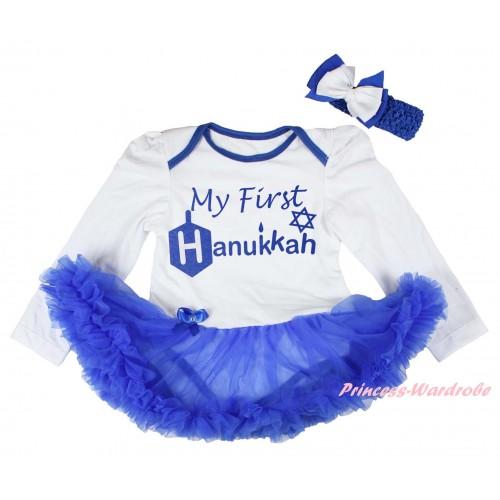 White Long Sleeve Baby Bodysuit Royal Blue Pettiskirt & My First Hanukkah Painting JS6192