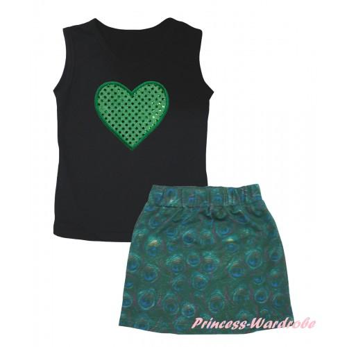 Black Tank Top Sparkle Kelly Green Heart Print & Peacock Girls Skirt Set MG2633