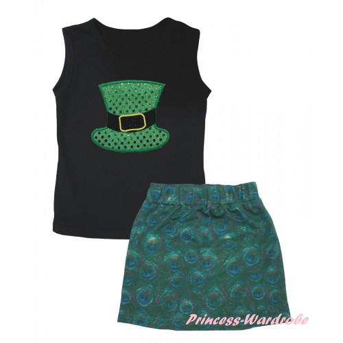 Black Tank Top Sparkle Kelly Green Hat Print & Peacock Girls Skirt Set MG2634