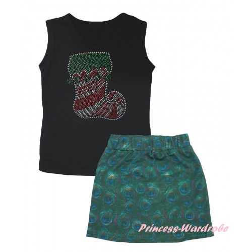Christmas Black Tank Top Sparkle Crystal Bling Rhinestone Christmas Stocking Print & Peacock Girls Skirt Set MG2636