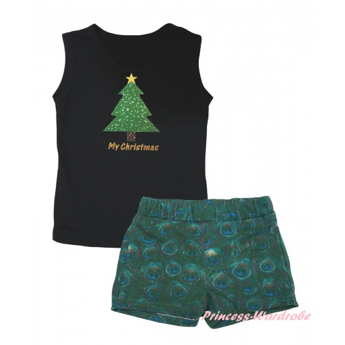 Christmas Black Tank Top My Christmas Tree Painting & Peacock Girls Pantie Set MG2640