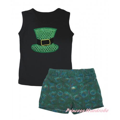 Black Tank Top Sparkle Kelly Green Hat Print & Peacock Girls Pantie Set MG2642