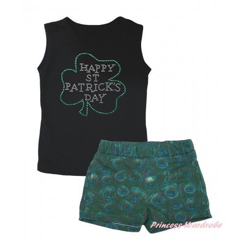 St Patrick's Day Black Tank Top Sparkle Rhinestone Clover Print & Peacock Girls Pantie Set MG2645