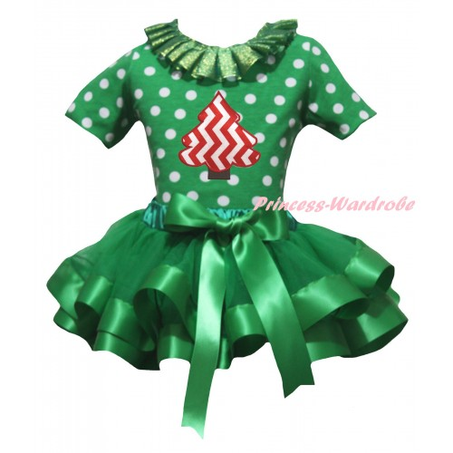 Christmas Kelly Green White Dots Pettitop Kelly Green Lacing & Red White Chevron Christmas Tree & Kelly Green Trimmed Pettiskirt MG2683