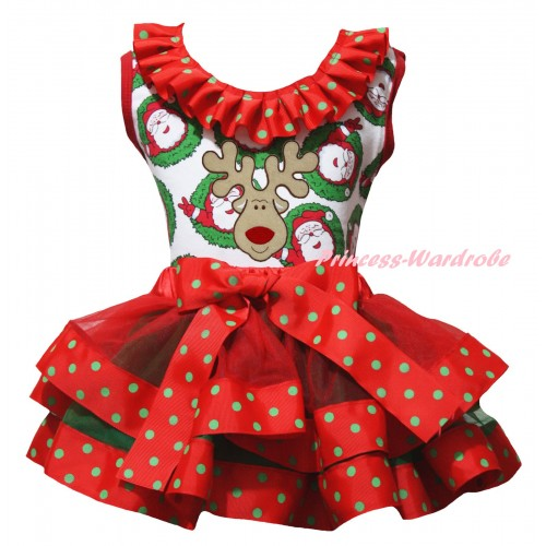 Christmas Santa Claus Pettitop Red Green Dots Lacing & Christmas Reindeer Print & Red Green Dots Trimmed Pettiskirt MG2687