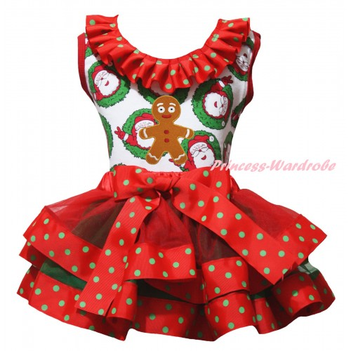 Christmas Santa Claus Pettitop Red Green Dots Lacing & Brown Gingerbread Print & Red Green Dots Trimmed Pettiskirt MG2688