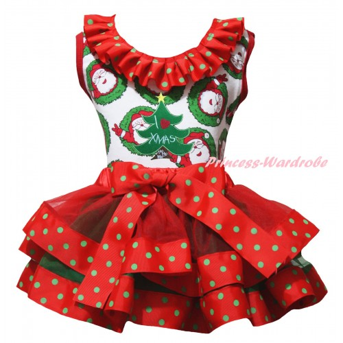 Christmas Santa Claus Pettitop Red Green Dots Lacing & Christmas Tree Print & Red Green Dots Trimmed Pettiskirt MG2689