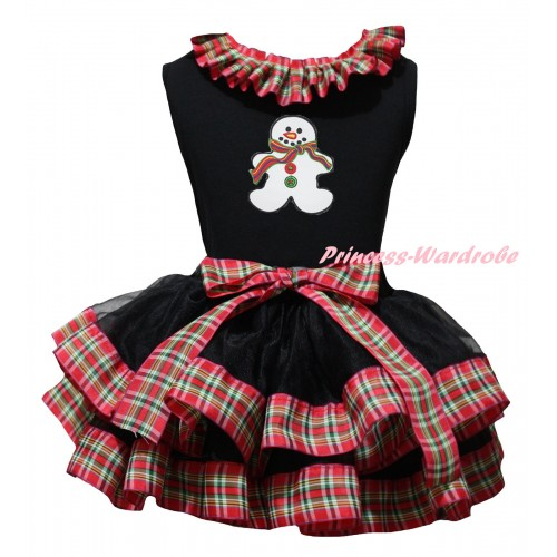Christmas Black Pettitop Red Green Checked Lacing & Christmas Gingerbread Snowman Print & Black Red Green Checked Trimmed Pettiskirt MG2710