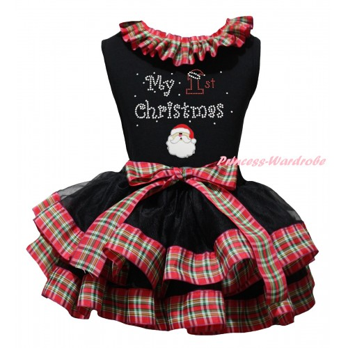 Christmas Black Pettitop Red Green Checked Lacing & Sparkle Rhinestone My 1st Christmas Print & Christmas Santa Print & Black Red Green Checked Trimmed Pettiskirt MG2713